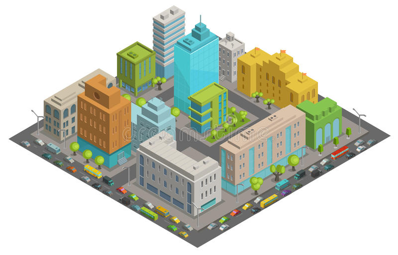 Buildings city streets quarter roads and traffic isometric 3d vector illustration City landscape, top view. Buildings city Quarter streets roads and traffic vector illustration