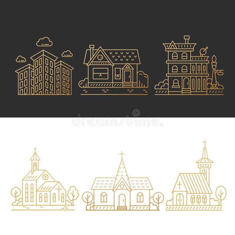 Buildings in the city stock illustration