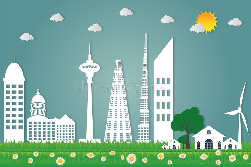 buildings cityscape ecology,Wind turbines with trees and sun clean energy eco-friendly concept ideas.vector illustration royalty free illustration