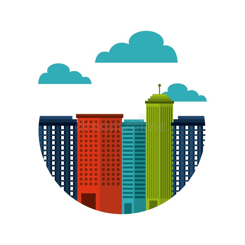 Buildings cityscape skyline icon. Illustration design royalty free illustration