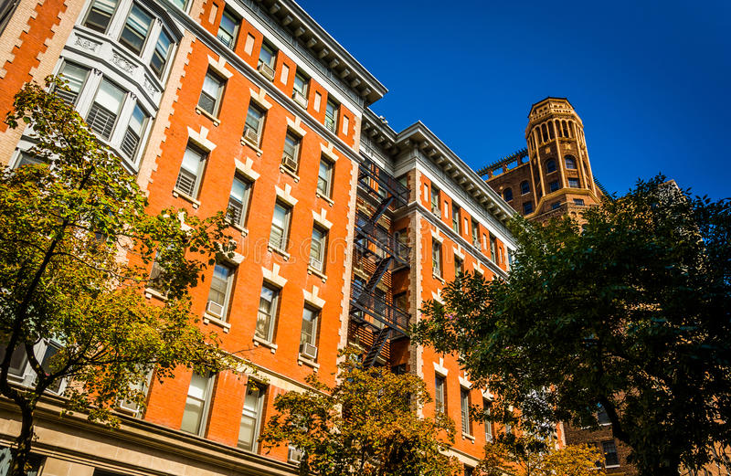 Buildings on Clark Street in Brooklyn Heights, New York. stock images
