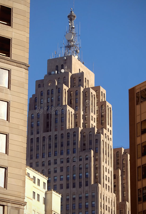 Buildings in Detroit. Tall buildings with modern architecture in downtown Detroit, USA royalty free stock photography