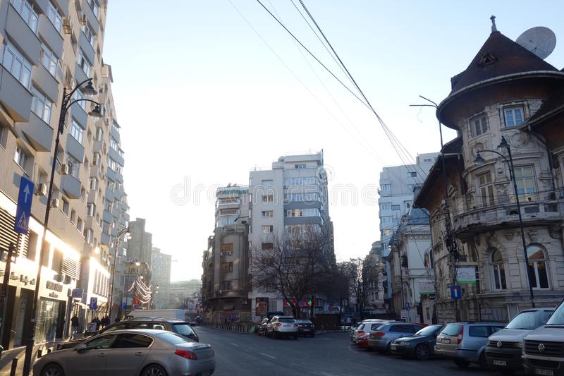 Buildings from different ages in Lahovari square in Bucharest stock image
