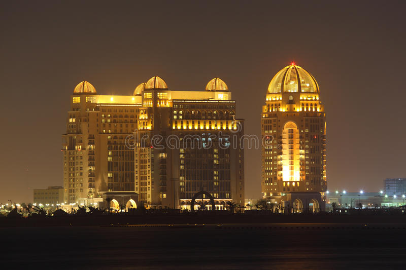 Download Buildings in Doha at night stock image. Image of night - 23719335