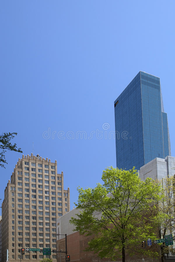Buildings in downtown Fort Worth. Modern and historic buildings in downtown of Fort Worth ,TX USA stock photo