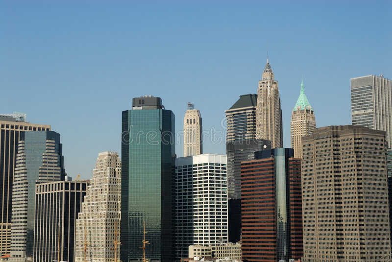 Buildings downtown in Manhattan. New York royalty free stock photos