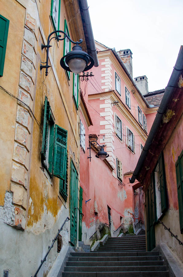 Buildings in downtown Sibiu royalty free stock images