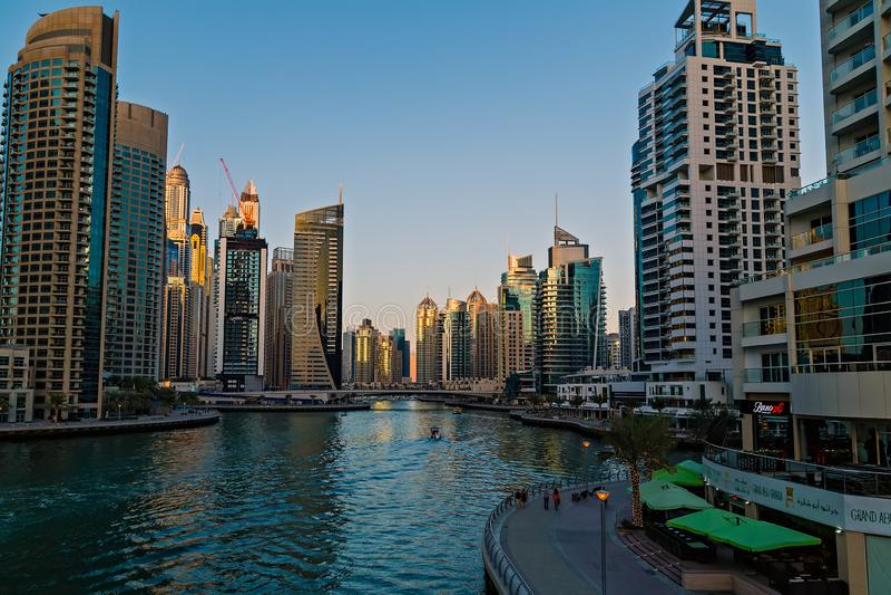 Buildings of Dubai Marina bay view skyscrapers, Dubai, United Arab Emirates stock photos