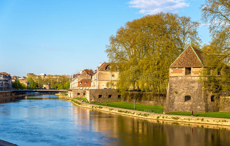 Buildings on the embankment in Besancon. France stock photography