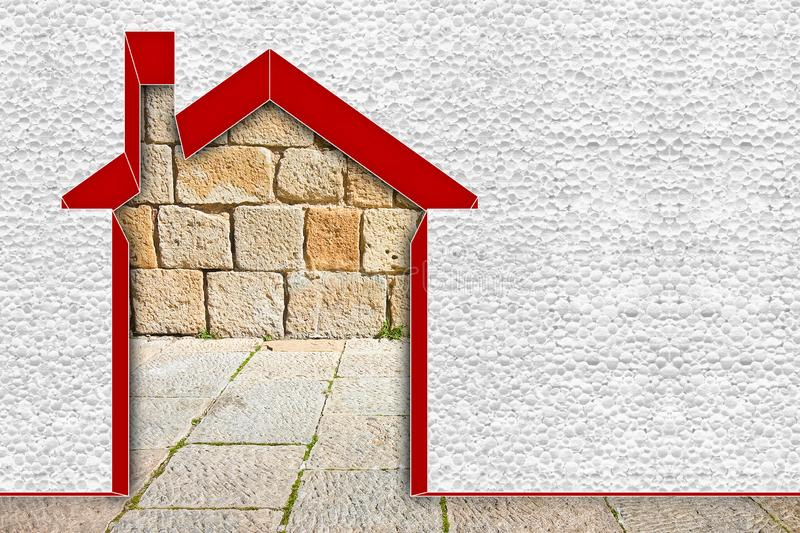 Buildings energy efficiency concept image - 3D render home thermally insulated with polystyrene walls.  stock image