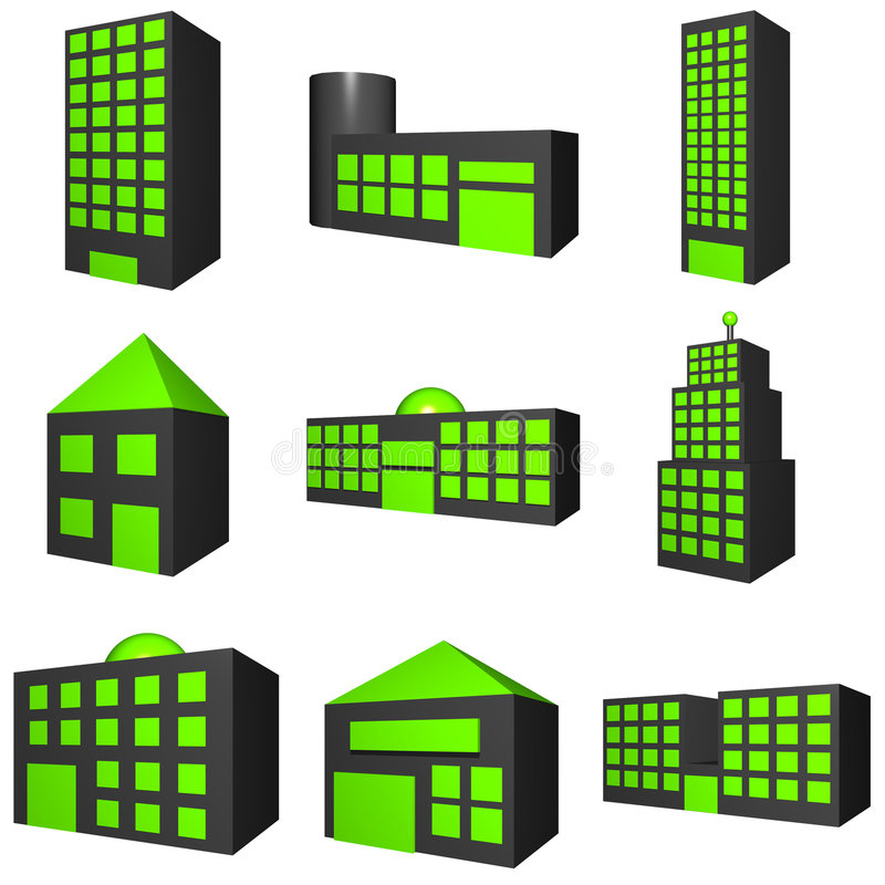 Download Buildings Exterior Icon Set In 3d Black Stock Illustration - Image: 4468277