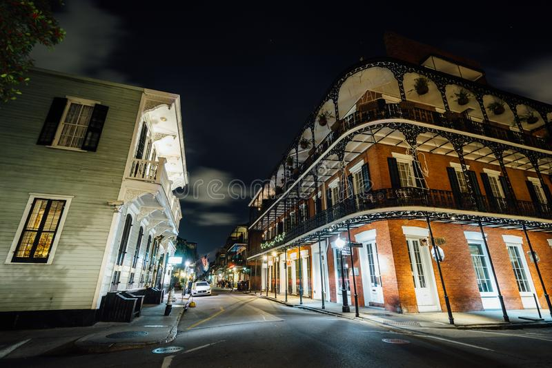 Buildings in the French Quarter at night, in New Orleans, Louisiana stock image