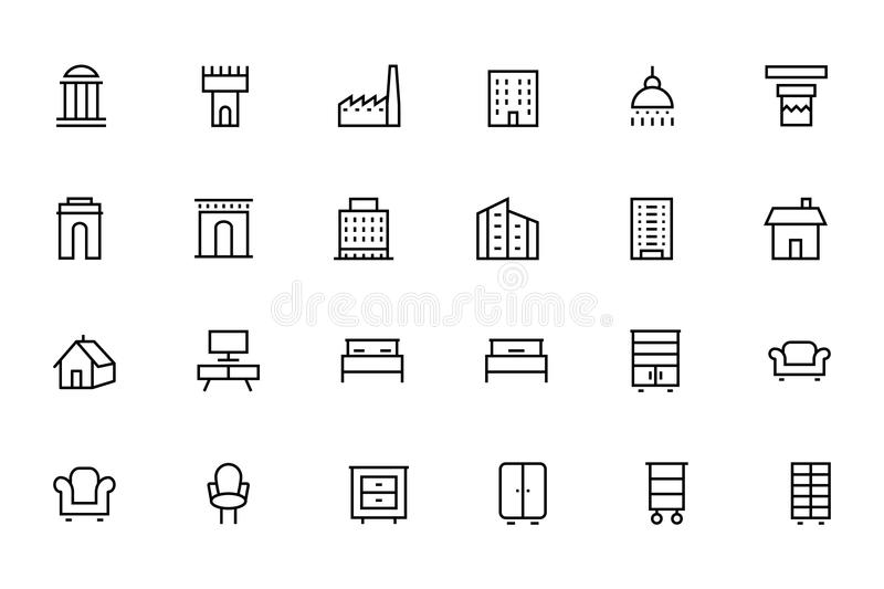 Buildings and Furniture 4 vector illustration