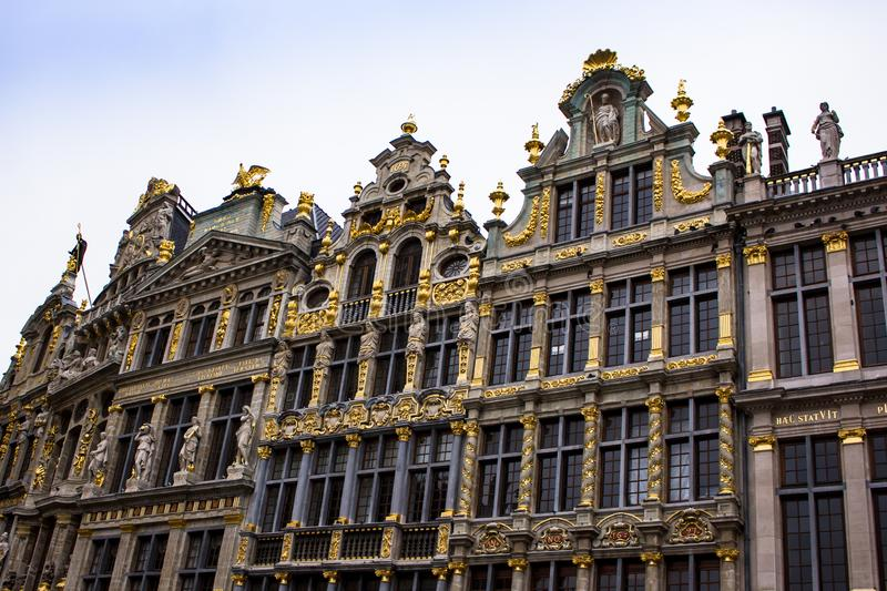 Buildings in Grand Place Brussels Belgium - architecture. The Grand Place or Grote Markt is the central square of Brussels. It is surrounded by opulent stock image