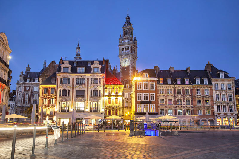 Buildings on the Grand Place in Lille. Old buildings on the Grand Place square at the evening, Lille, France stock photography
