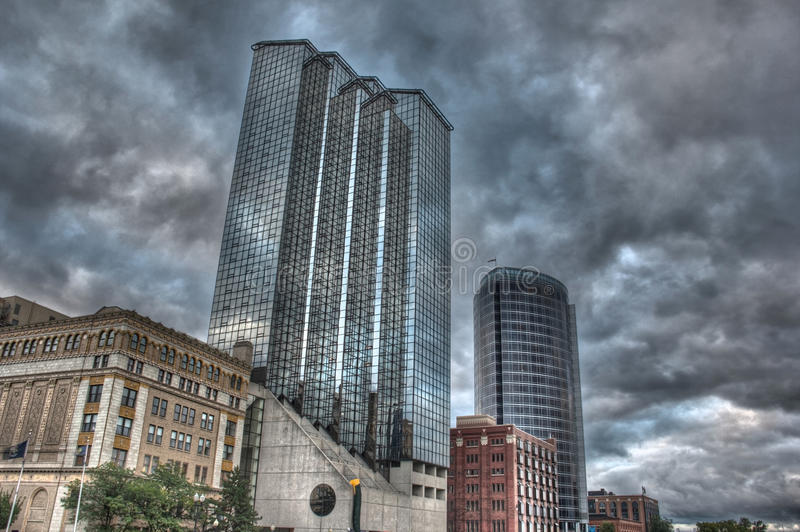 Buildings on the Grand River royalty free stock photography