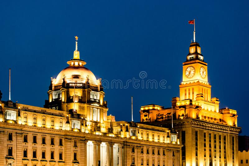 Historical buildings on Bund in Shanghai at night royalty free stock photo