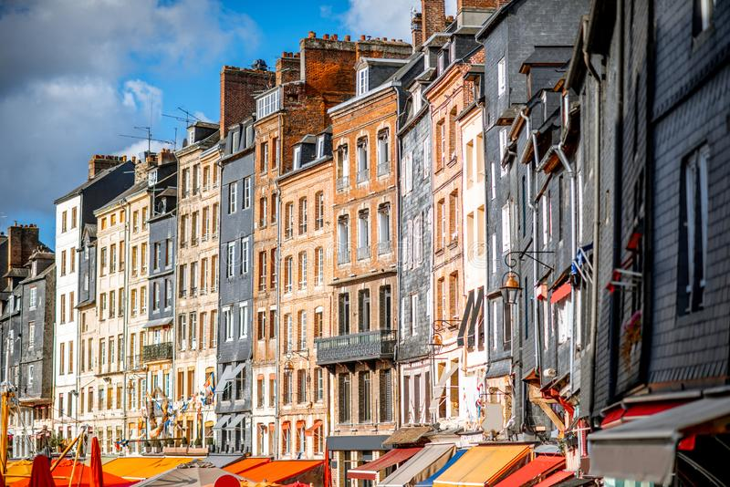 Buildings in Honfleur town, France royalty free stock photo