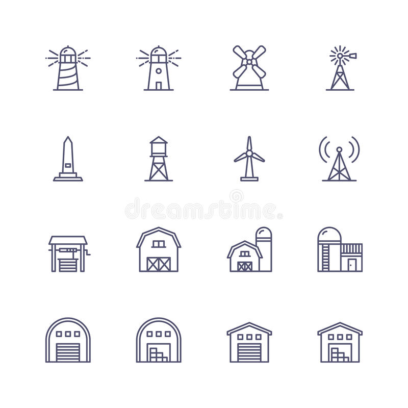 Buildings icons stock illustration
