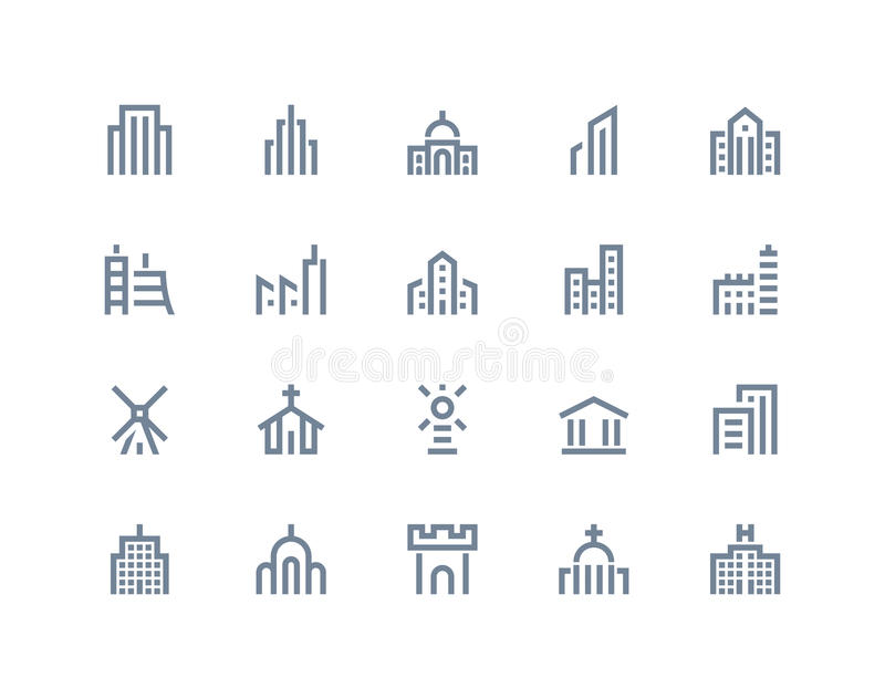 Buildings icons. Line series. Buildings icons set. Line series royalty free illustration