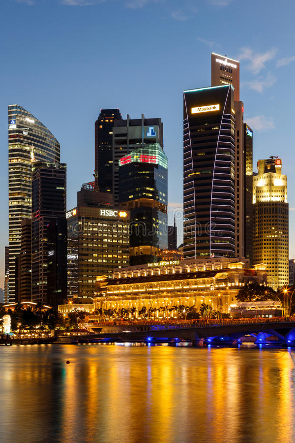Free Buildings In Singapore City In Night Scene Background Royalty Free Stock Photo - 49082035