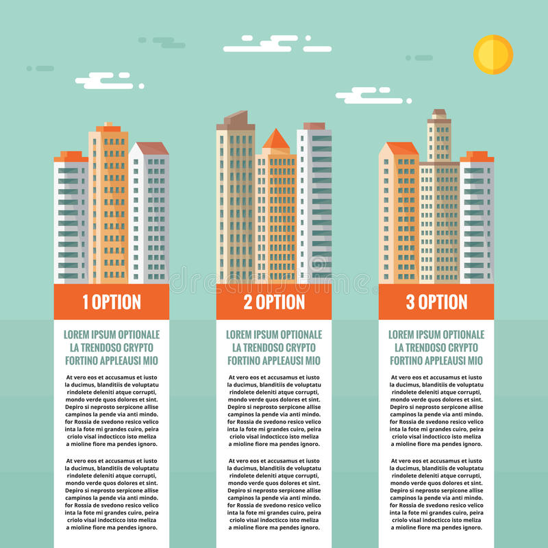 Buildings - infographic vector concept. Numbered options, vertical blocks. Buildings illustration in flat design style. Real Estate infographic concept vector illustration