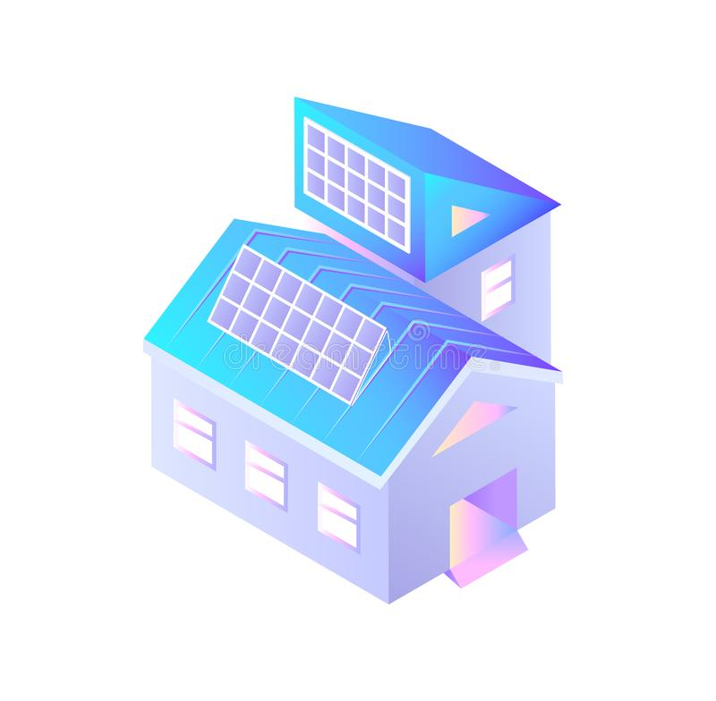 Buildings with Installed Solar Batteries Isolated stock illustration