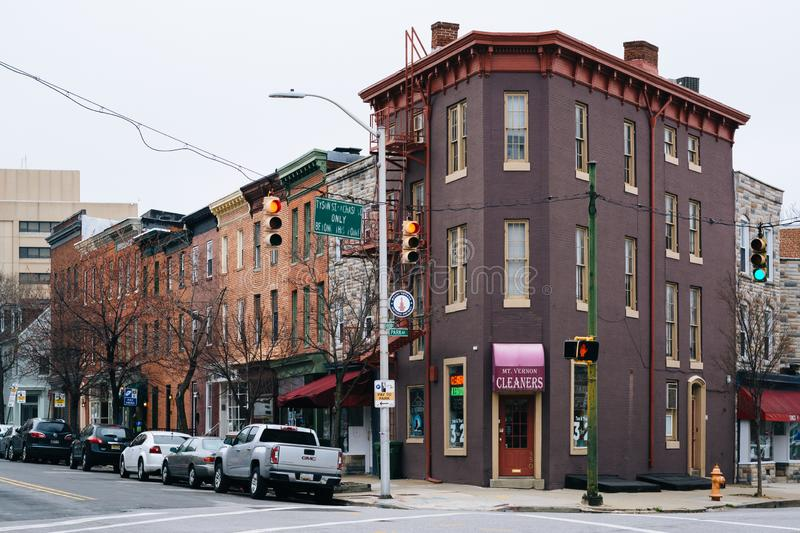 Buildings at the intersection of Park Avenue and Reed Street in Mount Vernon, Baltimore, Maryland.  royalty free stock photos