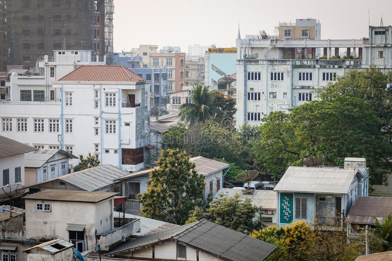 Buildings located at downtown in Yangon, Myanmar.  royalty free stock images