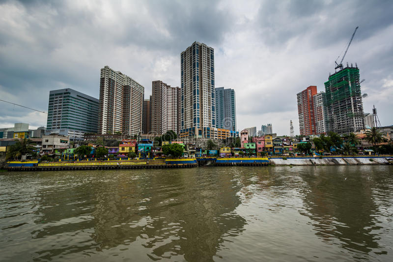 Buildings in Mandaluyong and the Pasig River seen from Makati, M royalty free stock photos
