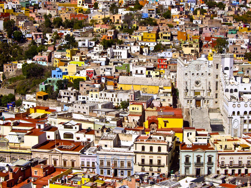 Buildings of many colors Mexico royalty free stock photos