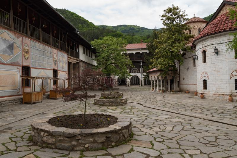 Buildings in Medieval Bachkovo Monastery Dormition of the Mother of God,. Bulgaria royalty free stock image