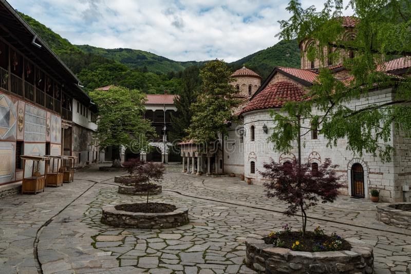 Buildings in Medieval Bachkovo Monastery Dormition of the Mother of God,. Bulgaria stock photography