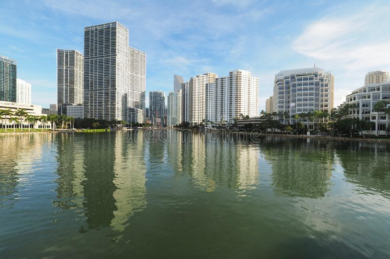 Buildings of Miami and Brickell Key and their reflections on Biscayne Bay. Miami, Florida 09-08-2018 Buildings of the City of Miami and Brickell Key and their stock images