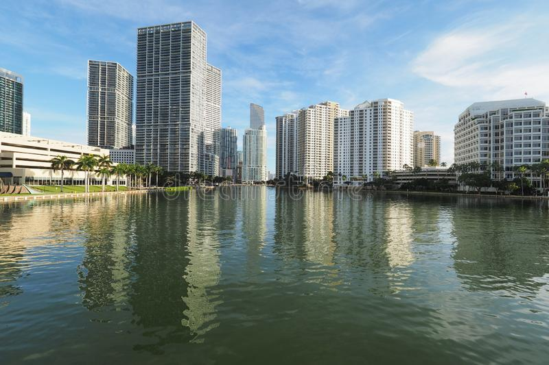Buildings of Miami and Brickell Key and their reflections on Biscayne Bay. Miami, Florida 09-08-2018 Buildings of the City of Miami and Brickell Key and their royalty free stock photos