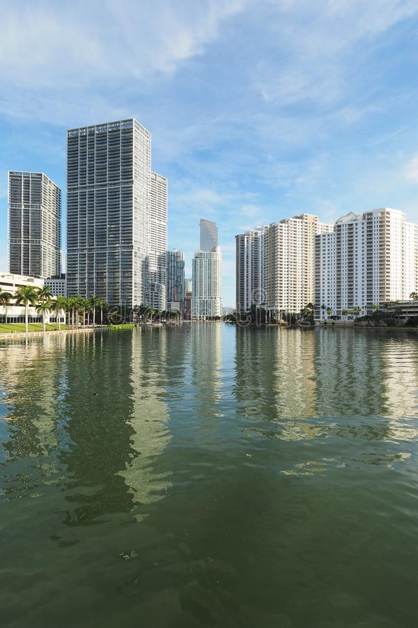 Buildings of Miami and Brickell Key and their reflections on Biscayne Bay. Miami, Florida 09-08-2018 Buildings of the City of Miami and Brickell Key and their royalty free stock photo