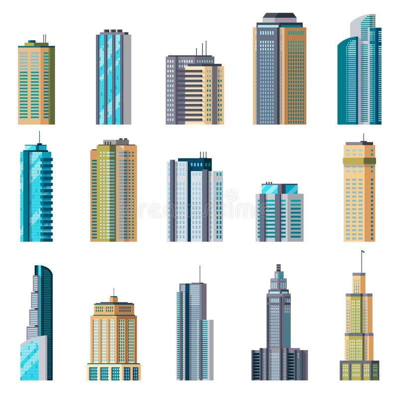 Buildings and modern city houses. Building business office apartment exterior flat home tall glass skyscraper town set royalty free illustration