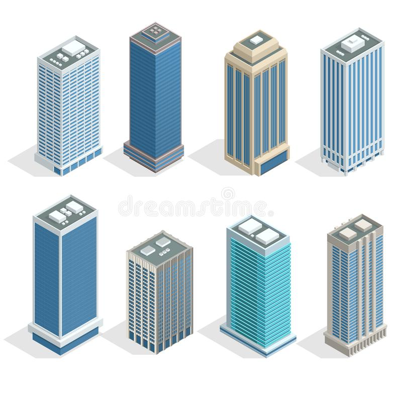 Buildings and modern city houses on 30-40 floors flat isoleted vector icons. royalty free illustration