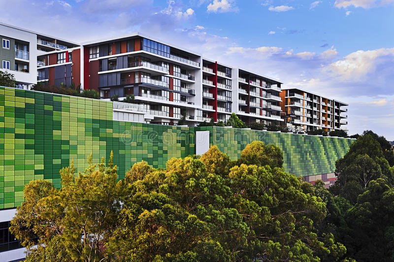 Buildings Modern Green Wall. Massive development of new multi-story apartment buildings in Sydney inner west around top ryde suburb. Modern residential stock photography