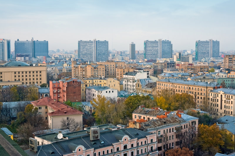 Buildings on Moscow New Arbat royalty free stock photography