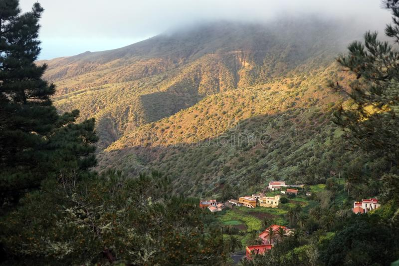 Buildings in mountain. Area of La Gomera island, Spain royalty free stock images