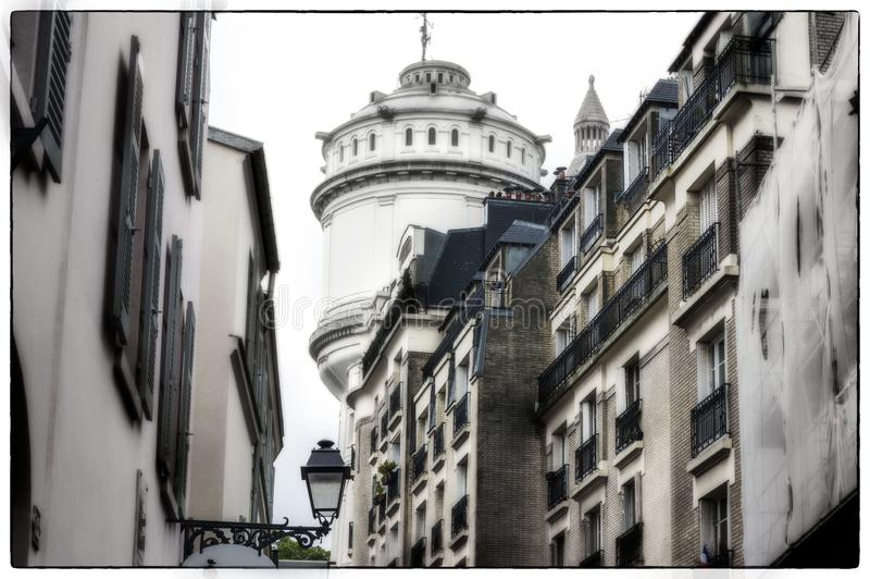 Buildings near Sacre Coeur Cathedral on Monmartre, Paris, France stock image