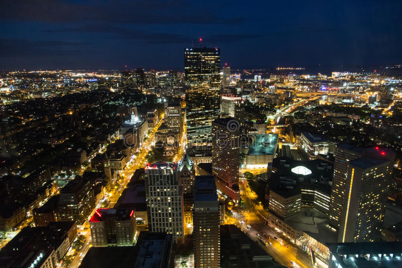 Buildings in night scene of Boston. At Skywalk, I got this beautiful night scene royalty free stock photography