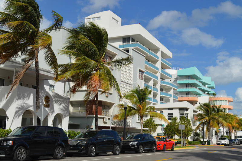 Buildings on Ocean Drive in Miami Beach, Florida stock images