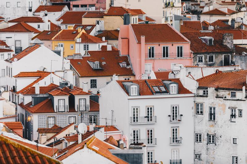 Buildings of the Old Town Alfama in Lisbon Portugal. Mosaic of Lisbon Historical Buildings in the Oldest District of the City royalty free stock image
