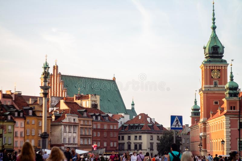 Warsaw Old Town Architecture on the Sunset stock photo