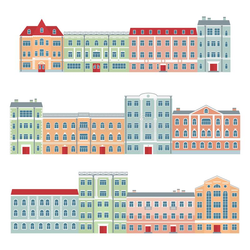Buildings in the old town. European architecture. Set of streets of beautiful houses. Vector illustration in flat style royalty free illustration