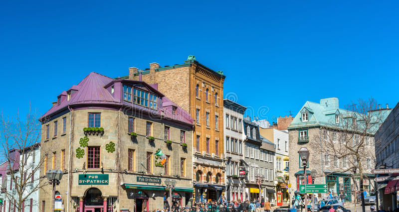 Buildings in the old town of Quebec City. Quebec City, Canada - April 29, 2017: Buildings in the old town of Quebec City. The historic district of Quebec City is stock photo