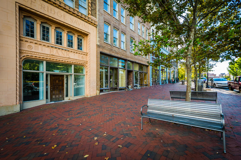 Buildings at Pack Square, in downtown Asheville, North Carolina. stock photos