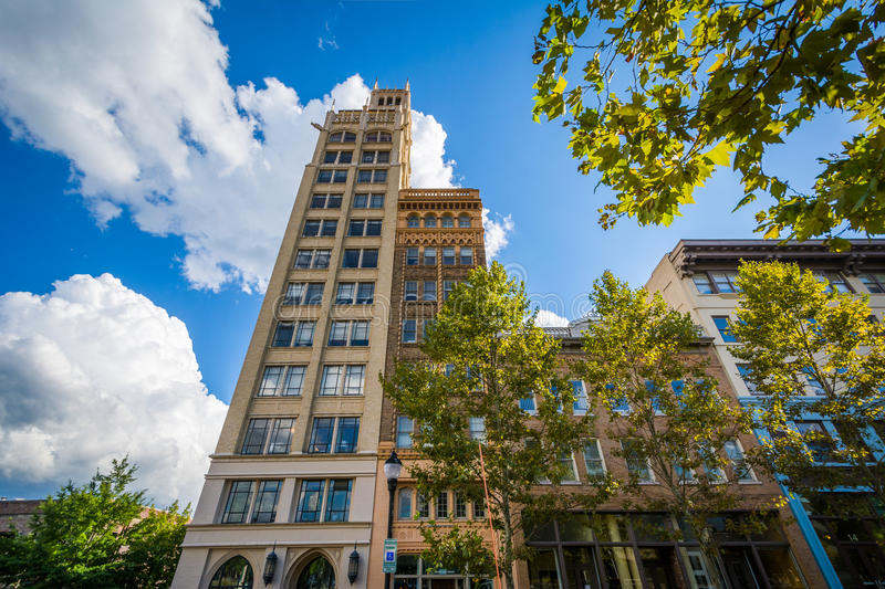 Buildings at Pack Square, in downtown Asheville, North Carolina. royalty free stock photo